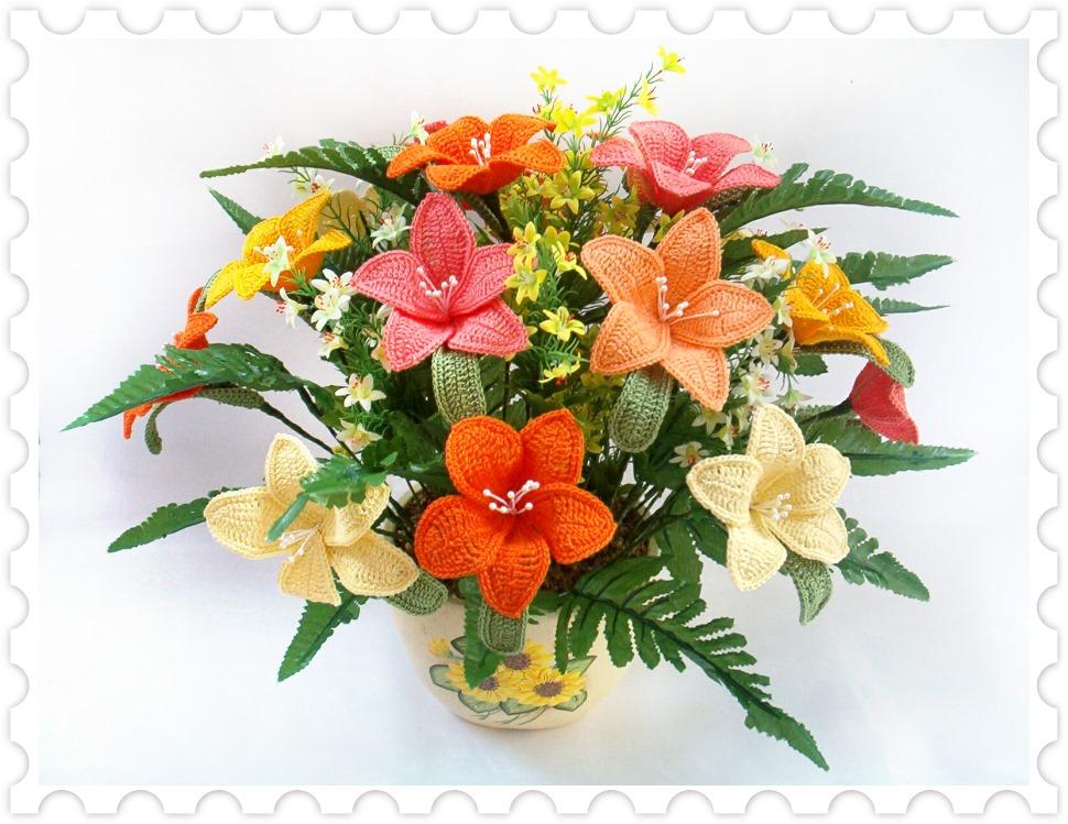 Вязание цветов или букетов крючком 132